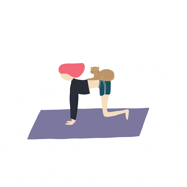 Yoga girl and cat do exercises Premium Vector