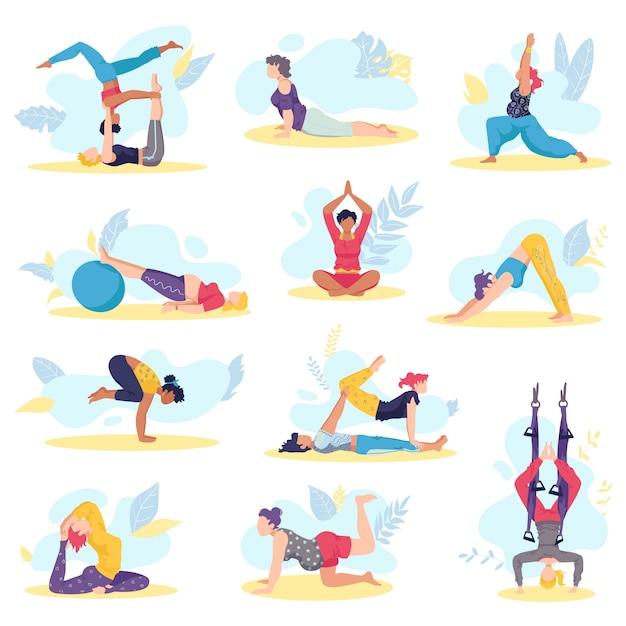 Упражнения девушки йоги и здоровье тела представляют набор иллюстрации фитнеса и тренировки здоровья. красивые молодые девушки, выполняющие различные позы йоги, медитации на растяжку и расслабление. Premium векторы