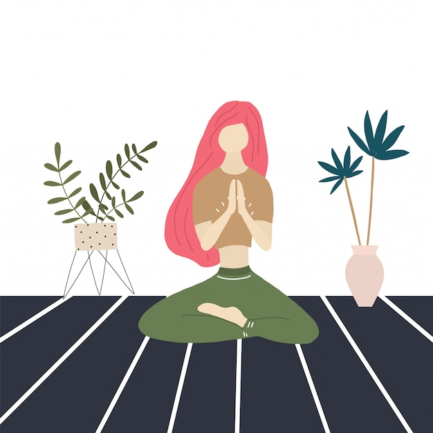 Yoga girl and home palms Premium Vector