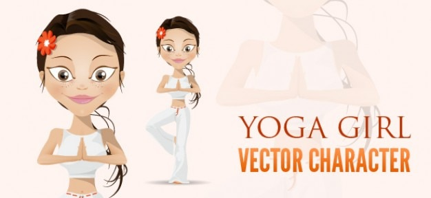 Yoga girl vector character