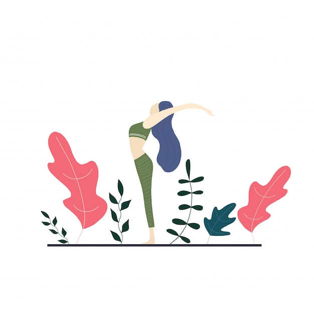 Yoga girl and vector flowers Premium Vector