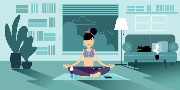 An yoga girl. Premium Vector