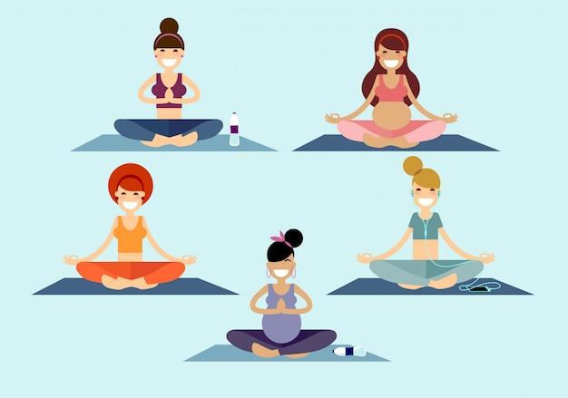 Yoga girls sitting in a sukhasana easy pose Premium Vector