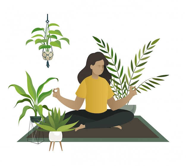 Yoga at home. meditation of young woman or mom happy relax in home garden jungle room greenhouse  concept Premium Vector