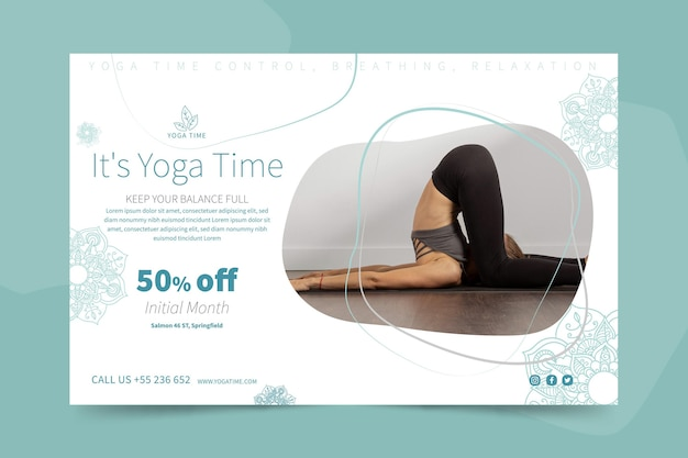 Yoga horizontal banner template Free Vector