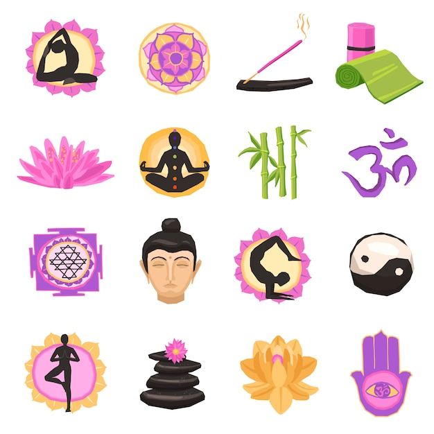 Yoga icons set Free Vector