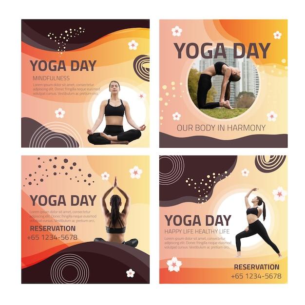 Yoga instagram posts Premium Vector