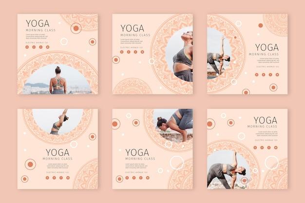 Raccolta di storie di instagram di yoga Vettore gratuito