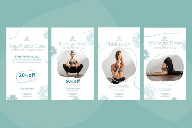 Yoga instagram stories collection Free Vector