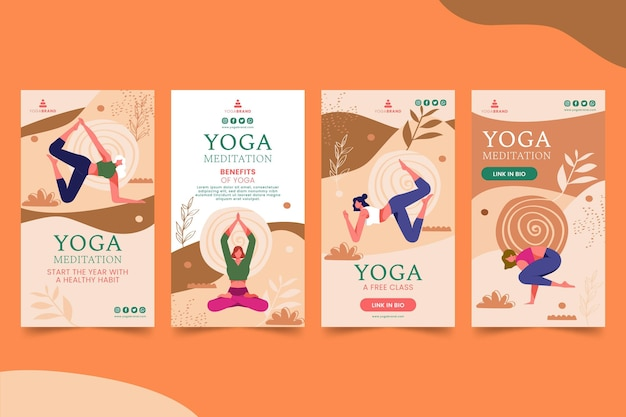Yoga instagram stories Premium Vector
