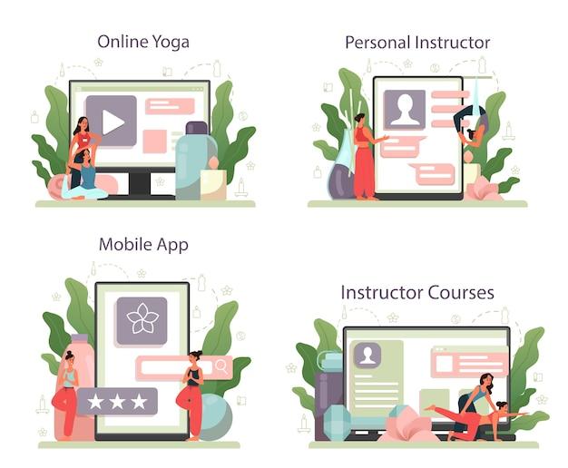 Онлайн-сервис или платформа для инструкторов по йоге. асана или упражнение для мужчин и женщин. физическое и психическое здоровье. онлайн-йога, инструкторский курс, мобильное приложение персонального инструктора. Premium векторы