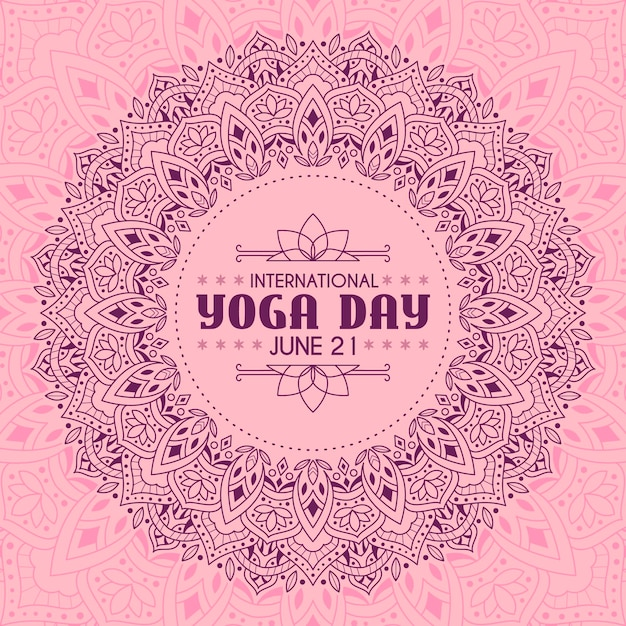 Yoga international day with pink calm design Free Vector