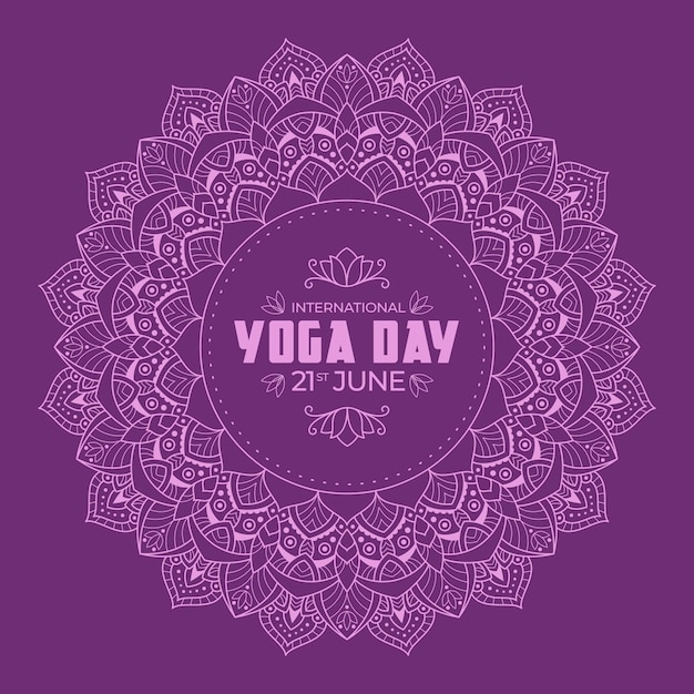 Yoga international day with violet calm design Free Vector