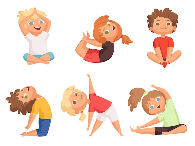 Yoga kids. children making different yoga exercises young gymnastics Premium Vector