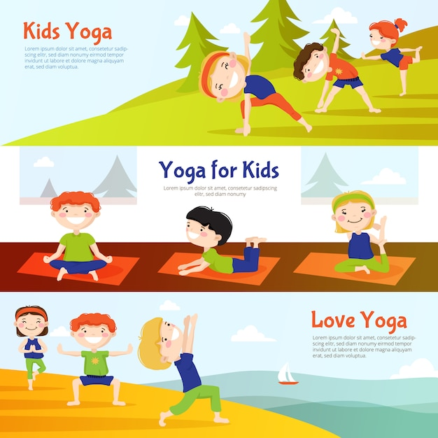 Yoga for kids horizontal banners set with children practicing asana poses outdoor Free Vector