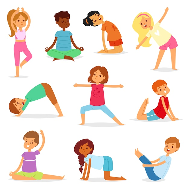 Yoga Kids Vector Young Child Yogi Character Training Sport Exercise Illustration Healthy Lifestyle Set Of Cartoon Boys And Girls Wellness Activity Of Stretching Meditation Isolated Premium Vector