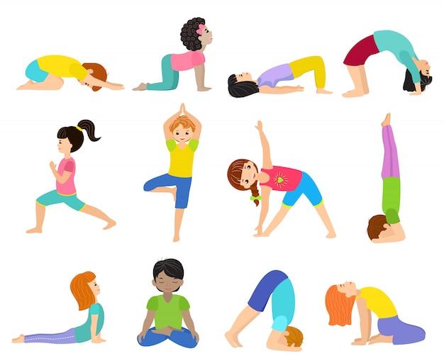 Yoga Kids Young Child Yogi Character Training Sport Exercise Illustration Healthy Lifestyle Set Of Cartoon Boys And Girls Wellness Activity Of Stretching Meditation Isolated On White Background Premium Vector