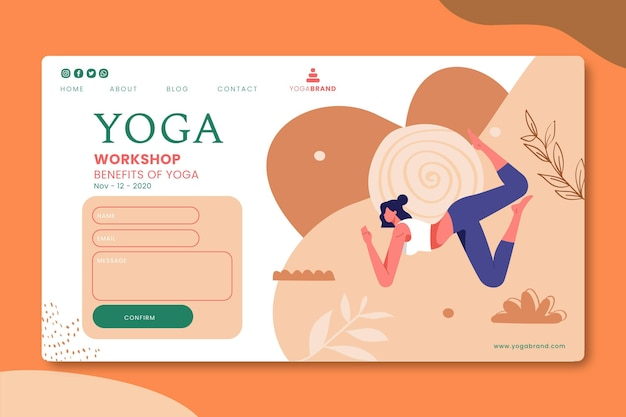 Yoga landing page design Free Vector