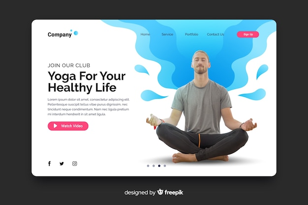 Yoga landing page with photo and liquid shapes Free Vector