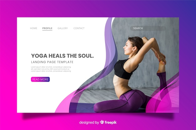 Yoga landing page with photo Free Vector