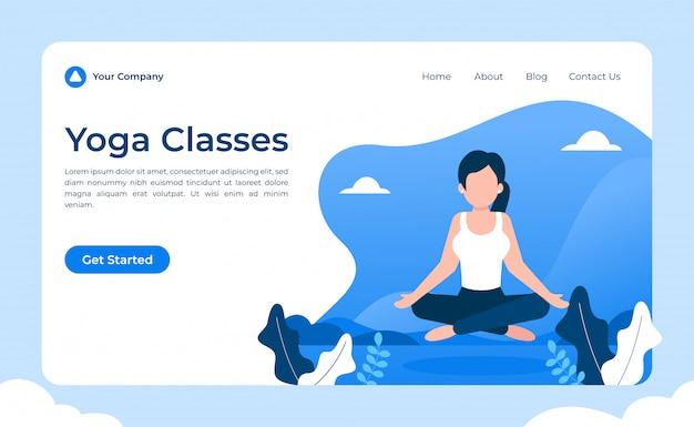 Yoga landing page Premium Vector