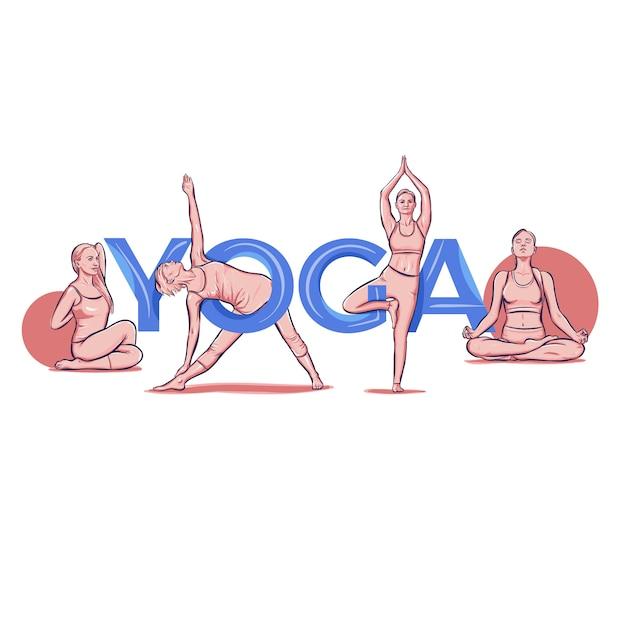 Йога надписи типография поза асаны Бесплатные векторы