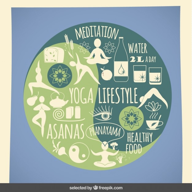 Yoga lifestyle icons Free Vector