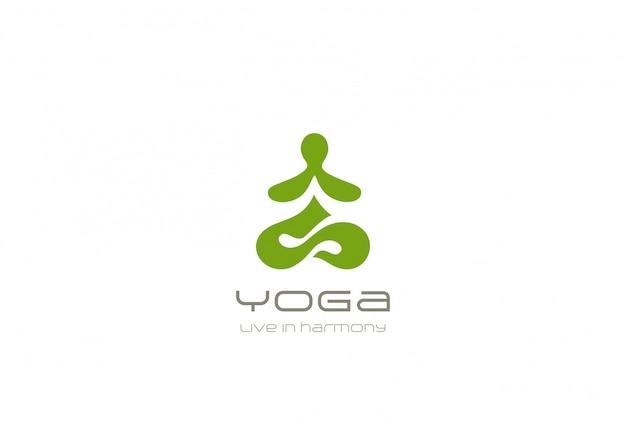 ヨガのロゴ抽象的なロータスポーズデザインテンプレートに座っている男否定的なスペーススタイル。スパ瞑想禅仏教体操調和ロゴタイプコンセプトアイコン 無料ベクター