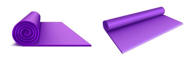 ヨガマットの上面図と側面図、フィットネスエクササイズ、ストレッチ、瞑想、床でのスポーツトレーニング用の紫色のロールマットレス、分離されたフラットエアロビクスラグ 無料ベクター