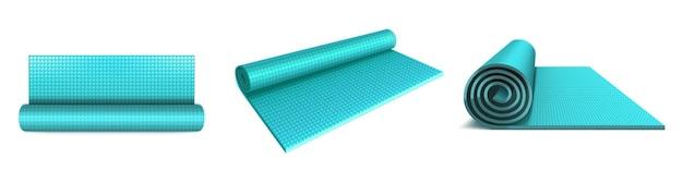 ヨガマットトップ、アングルとサイドビュー、フィットネスエクササイズ、ストレッチ、瞑想、床でのスポーツトレーニング用の青いロールマットレス、白で隔離されたフラットエアロビクスラグ 無料ベクター