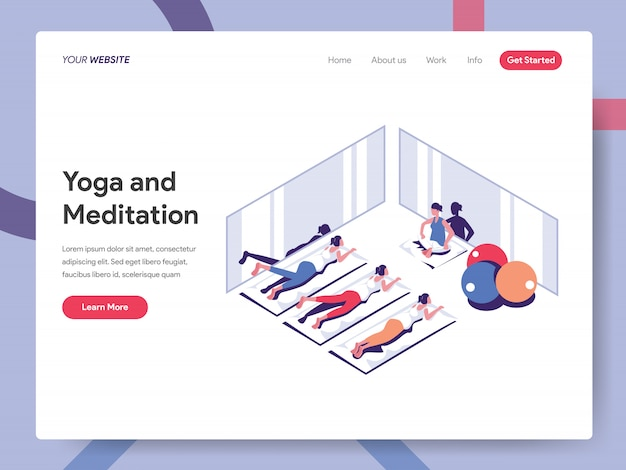 Yoga and meditation banner for website page Premium Vector