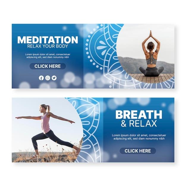 Дизайн баннеров для йоги и медитации Бесплатные векторы