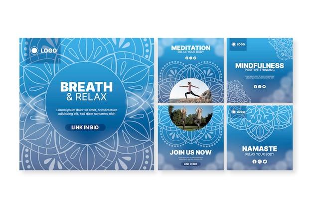 Yoga meditation instagram post collection Free Vector