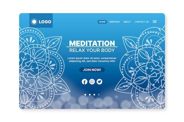 Pagina di destinazione della meditazione yoga Vettore gratuito