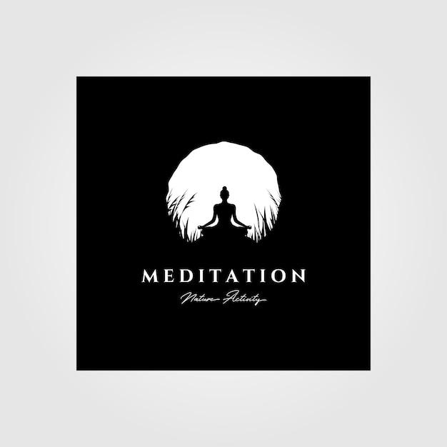 Дизайн иллюстрации предпосылки луны логотипа раздумья йоги, винтажный стиль логоса Premium векторы