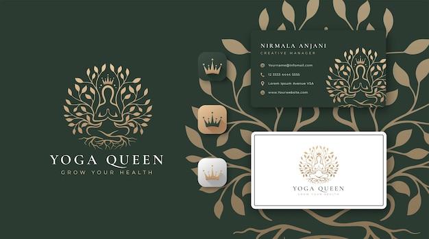 抽象的な木のロゴと名刺デザインのヨガ瞑想 Premiumベクター