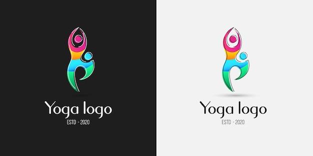 Концепция дизайна логотипа позы йоги Premium векторы