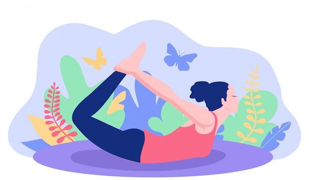 Йога поза для баннера. женщина вычисляет йогу тренировки концепции хорошего здоровья. йога позиции женщины с предпосылкой вегетации. иллюстрация. Premium векторы