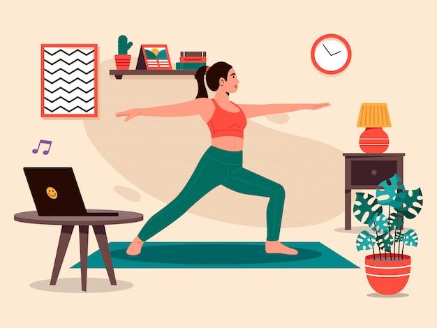 Premium Vector | Yoga pose at home illustration