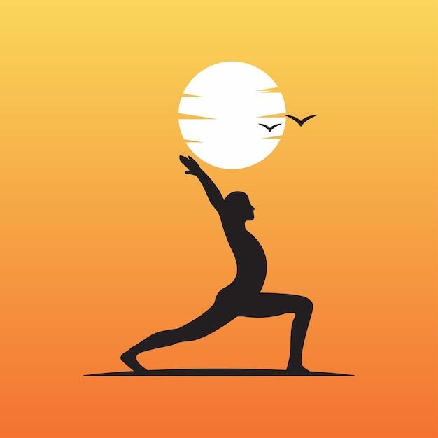 日没のアウトラインシルエットにヨガポーズのロゴ Premiumベクター