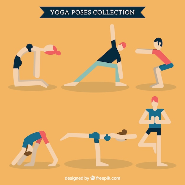 Yoga poses collection in flat design