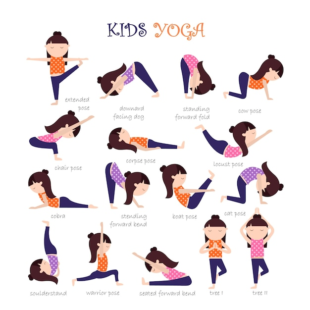Yoga Poses Collection Premium Vector