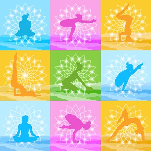 Yoga poses set woman silhouette over beautiful lotus icon colorful ornament Premium Vector