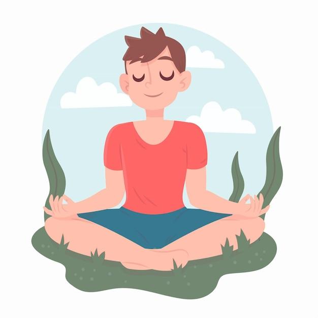 Йога позиции и ясного ума человека характера Бесплатные векторы