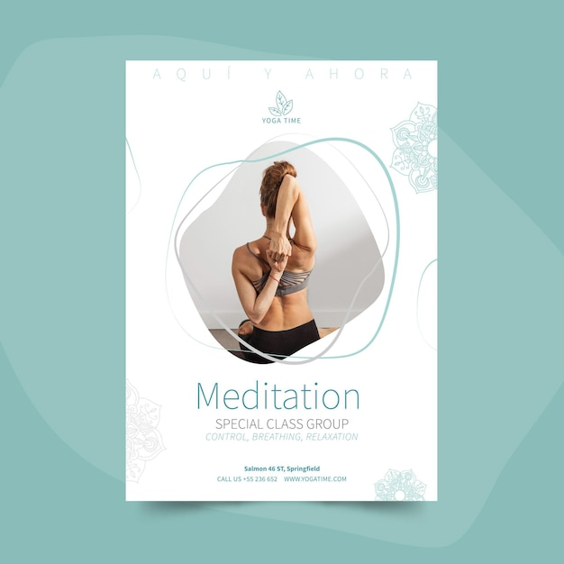 Yoga poster template with photo Free Vector