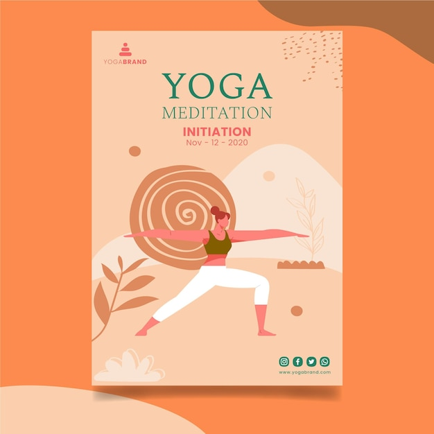 Yoga poster template Free Vector