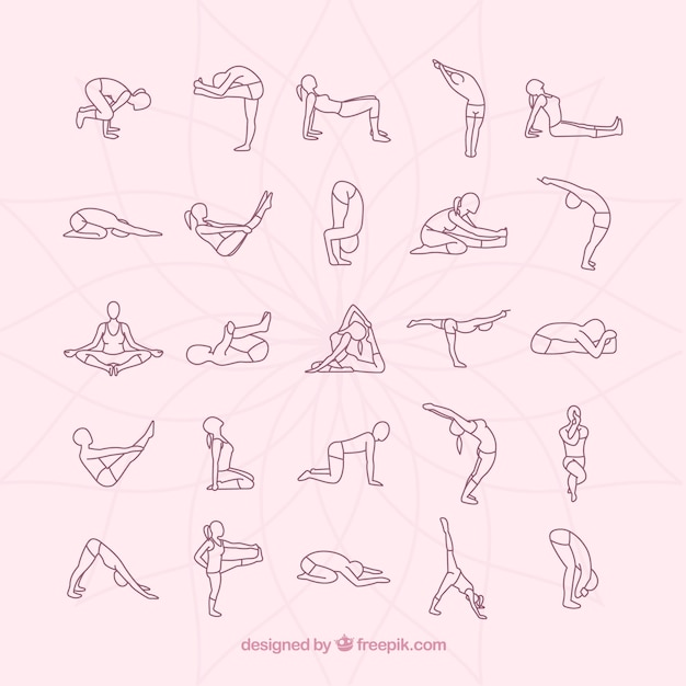 Yoga postures collection Free Vector