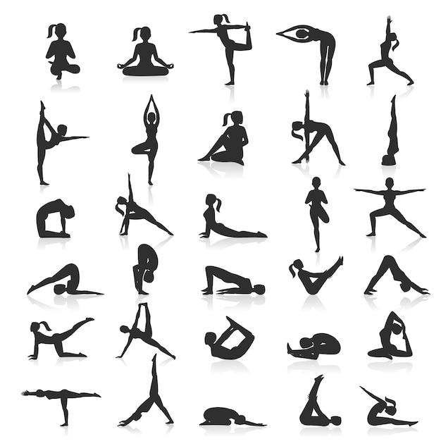 Набор упражнений позы йоги. Premium векторы