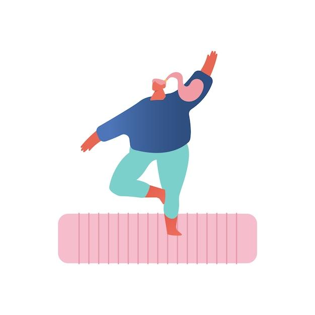 요가 연습. 스포츠에서 중량이 초과 된 소녀 매트에 서 서 흰색 배경에 피트 니스 또는 요가 참여. 프리미엄 벡터