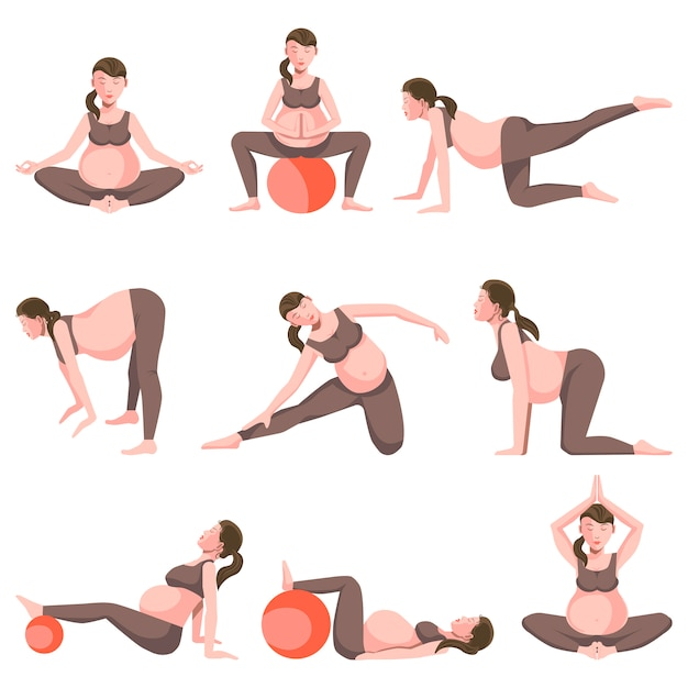 Yoga for pregnant women icons collection on white Premium Vector